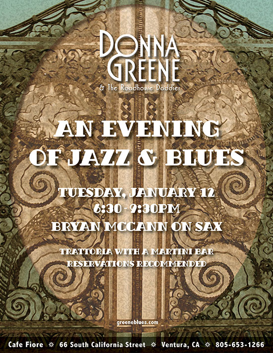 Donna Greene & The Roadhouse Daddies at Cafe Fiore in Ventura featuring Bryan McCann on sax